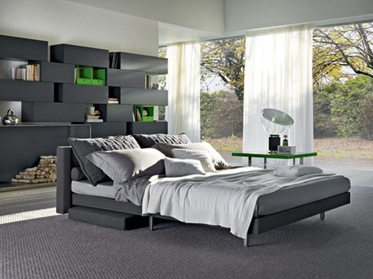 Practical and elegant sofa transformable into family bed