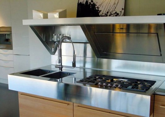Practical stove and basin design Kube from Snaidero