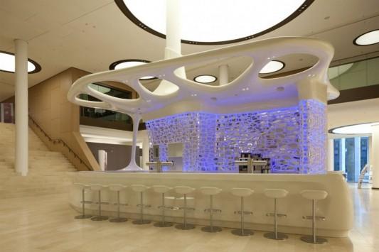 Pwc Lobby Cafe Reception Desk Futuristic Design By Joi