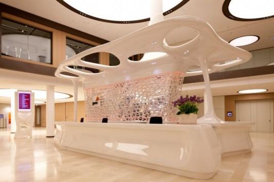 Pwc Lobby Reception Desk Futuristic Design