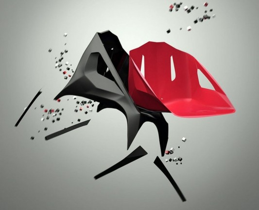 Red and black Hodie colored minimalist chair