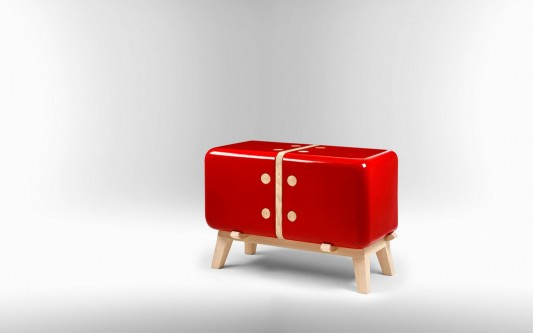 Red colored KERAMOS Ceramic shell cabinet by Coprodotto