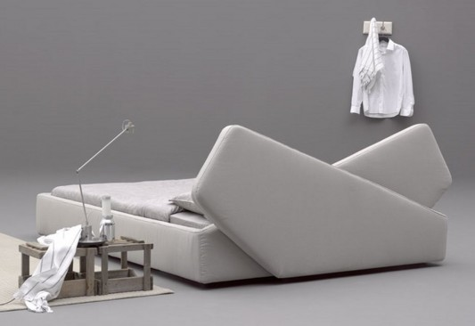 Ribbon Modern upholstered bed white color by Odoardo Fioravanti