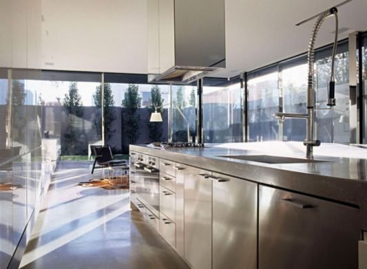 Ross Street Residence With with modern stainless steel kitchen
