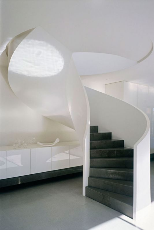 Ross Street Residence circular stairs design of cement