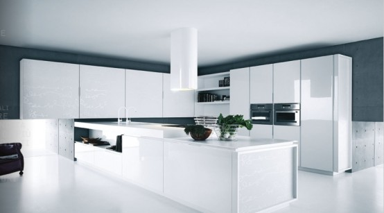 Simply White Gloss Kitchen Cabinets As Home Interior