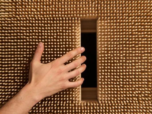 Sliding door drawer design magistral cabinet Bamboo Skewers covered detail