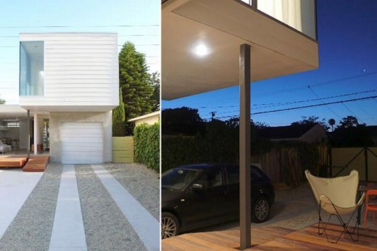 Small Beach House Transformation into modern design exterior and garage design