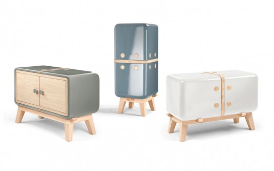 Soft colored KERAMOS ceramic shell sideboard and cabinet by Coprodotto