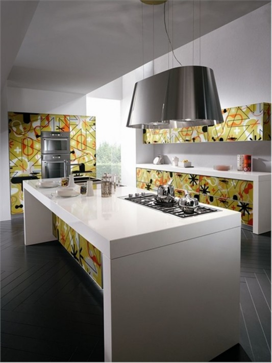 Sophisticated and modern kitchen design with bright color
