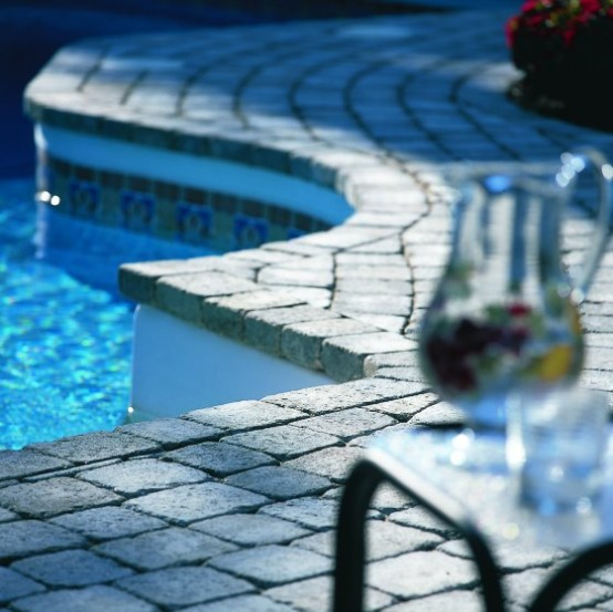 Swimming Pool Design with Beautiful Design Deck Stone