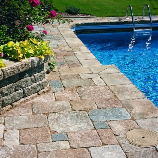Swimming Pool Design with Cozy Deck Stone