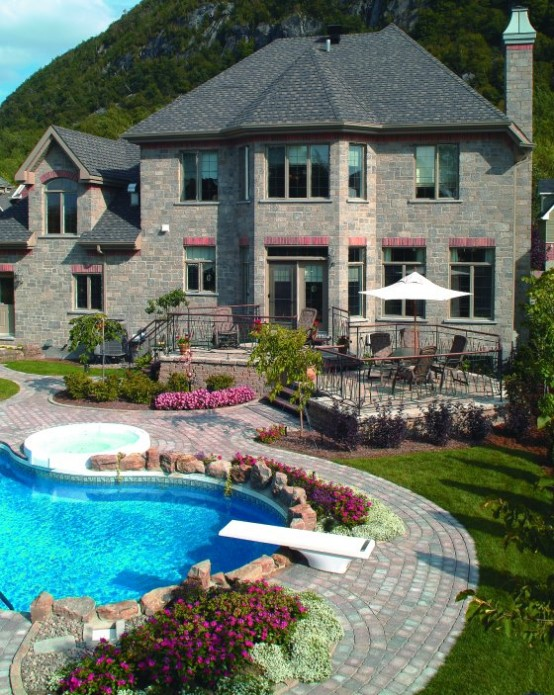 Swimming pool design with deck stone in giant yard home - Draining a swimming pool may be a bad idea ...
