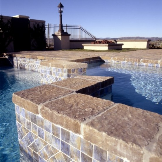 Swimming Pool Design with Beautiful Deck Stone