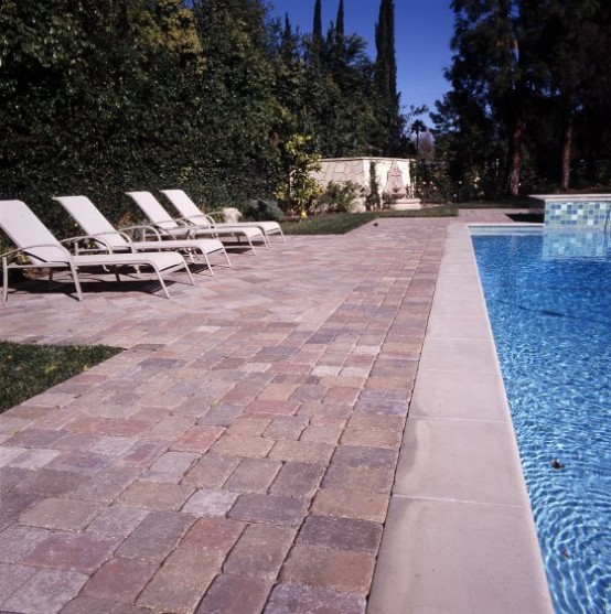 Swimming Pool Design with Deck Stone concept