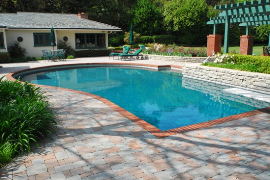 Swimming Pool Design with Deck Stone design