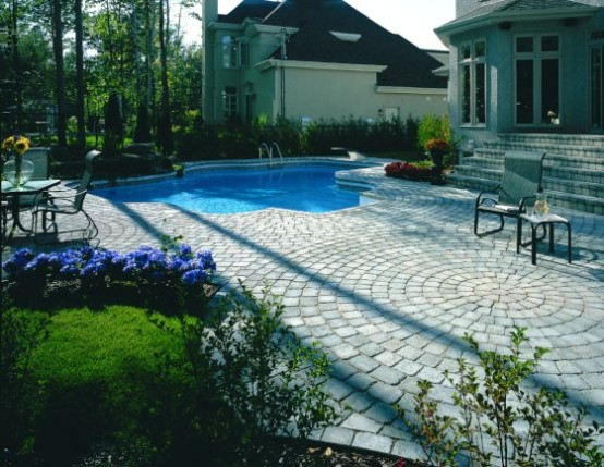 Swimming Pool Design with Lounge Deck Stone