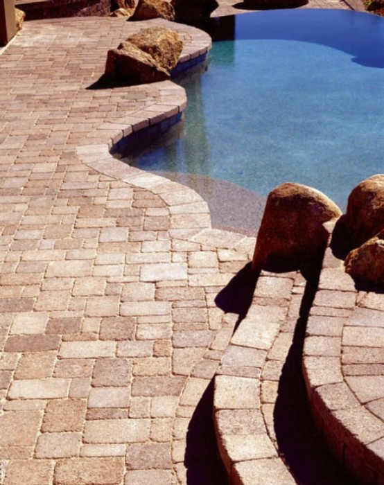 Swimming Pool Design With Deck Stone In Giant Yard Home