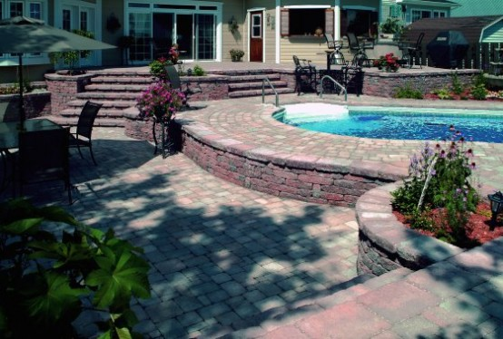 Swimming Pool Design with Elegant Deck Stone