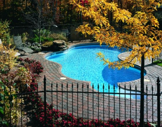 Swimming Pool Design with Natural Deck Stone Ideas