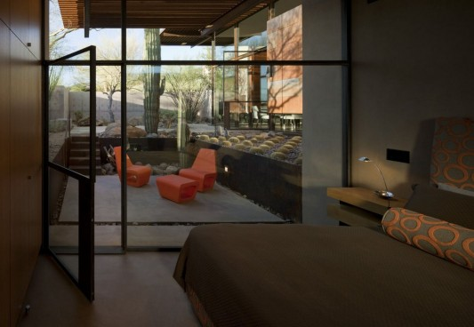 The Brown Residence by LakeFlato Architects bedroom and terrace