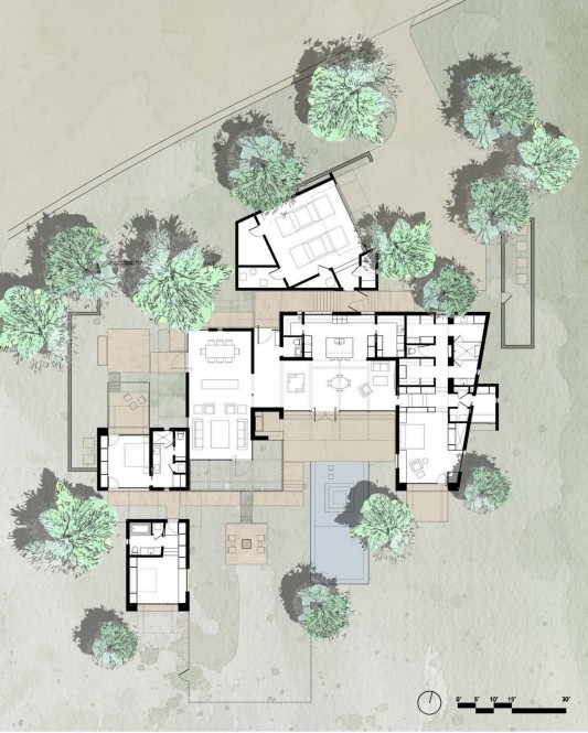 The Brown Residence by LakeFlato Architects site plan