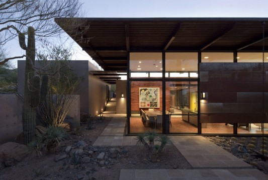 The Brown Residence by LakeFlato Architects transparent dining room