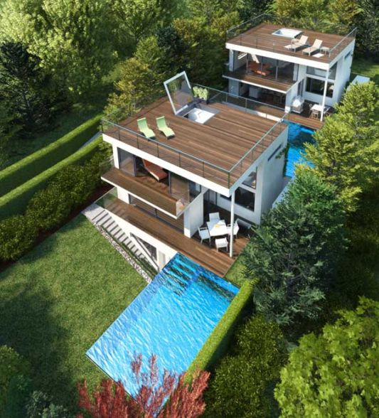 The Concept Of Three Storey House With Swimming Pool