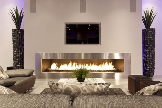 Ultra-modern residence with futuristic interior extra large fireplaces