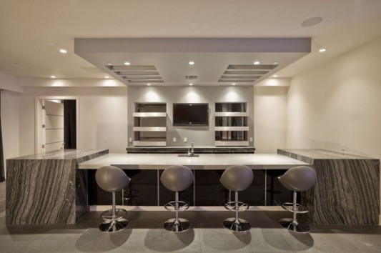 Ultra-modern residence with futuristic interior kitchen counter