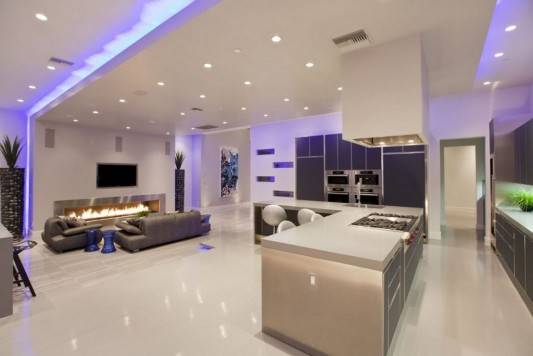Ultra-modern residence with futuristic interior living room and kitchen