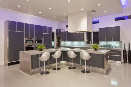 Ultra-modern residence with futuristic interior modern kitchen counter top