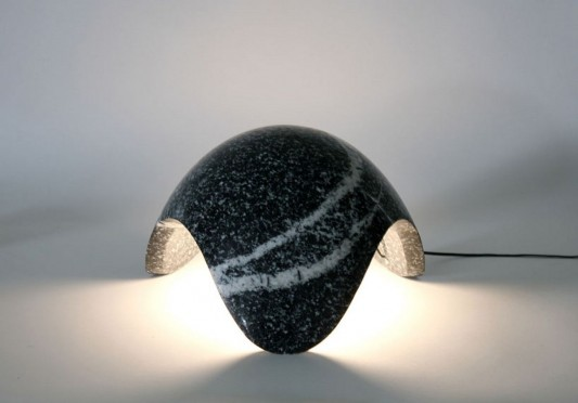 Unique lamp craved from solid granite by Kim HyunJoo
