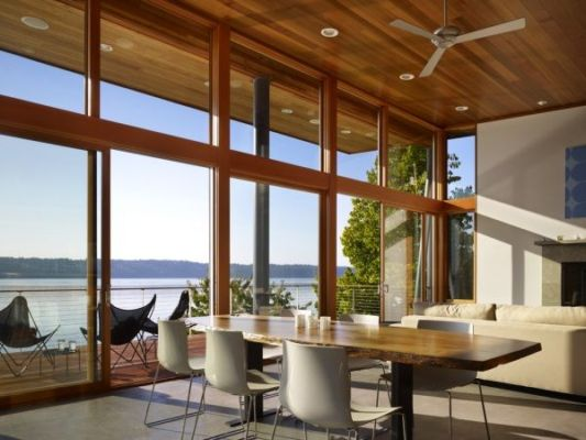 Vashon Island Cabin living room design ideas