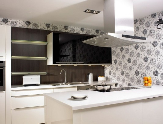 White and brown modern kitchen decorating ideas