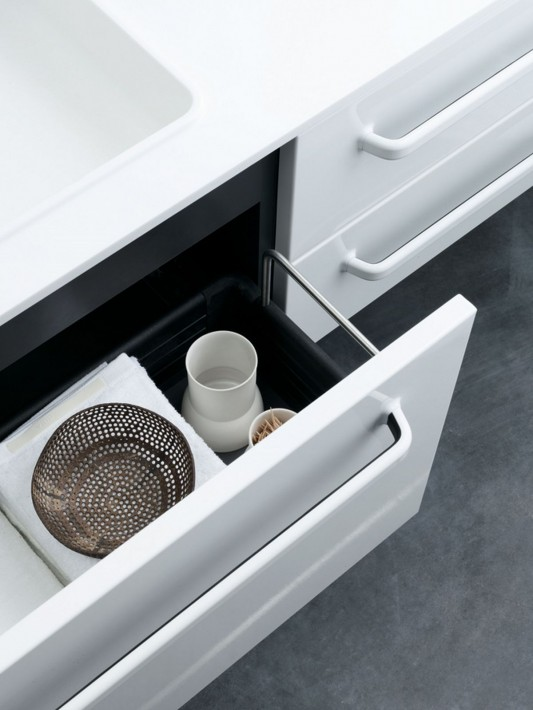 White modular bathroom furniture drawer detailed
