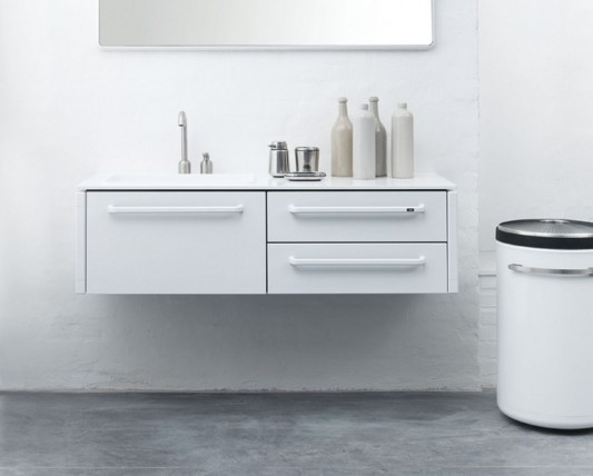 White modular bathroom furniture by Vipp