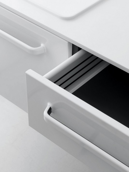 White modular bathroom furniture drawer design detailed