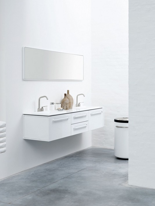 White modular bathroom furniture minimalist design