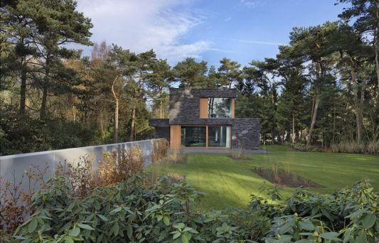 abstract villa with natural stone walls