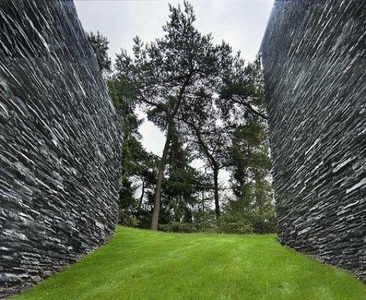 abstract villa with natural stone walls details