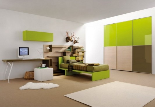 Modern Teen Bedroom Set with Wardrobe in Dynamic Color ...