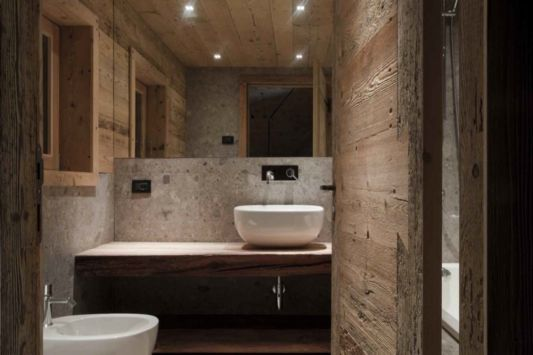contemporary bathroom design alpine wooden barn restoration by exit architetti associati home - Bathroom Designs Contemporary