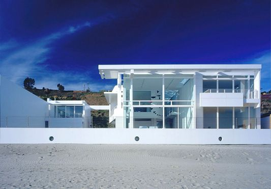 architecture of modern beach house with a white color
