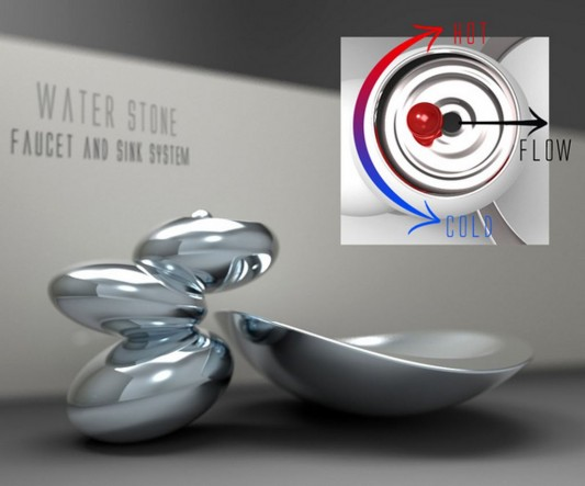 artistic concept of faucet and sink with smart control mechanism