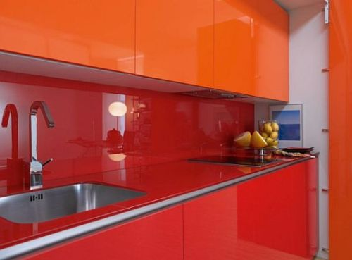 attractive color on hidden kitchen sets