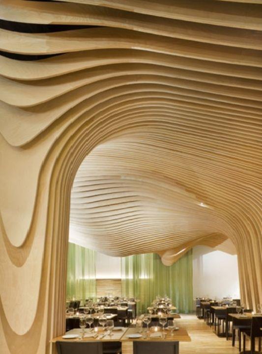 banq restaurant with unique ceiling