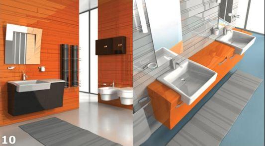 bathroom ideas shiny orange