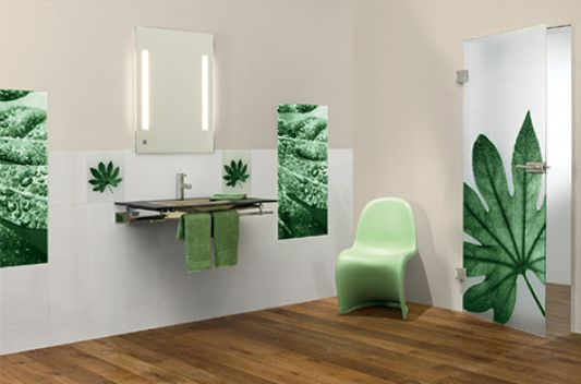 bathroom wall decoration with nature glass tiles motive