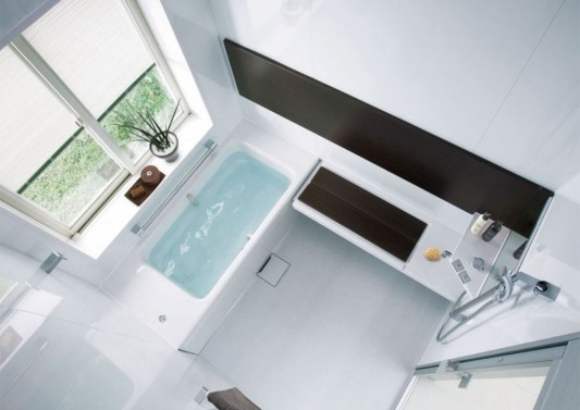 beautiful modern white small bathroom top view